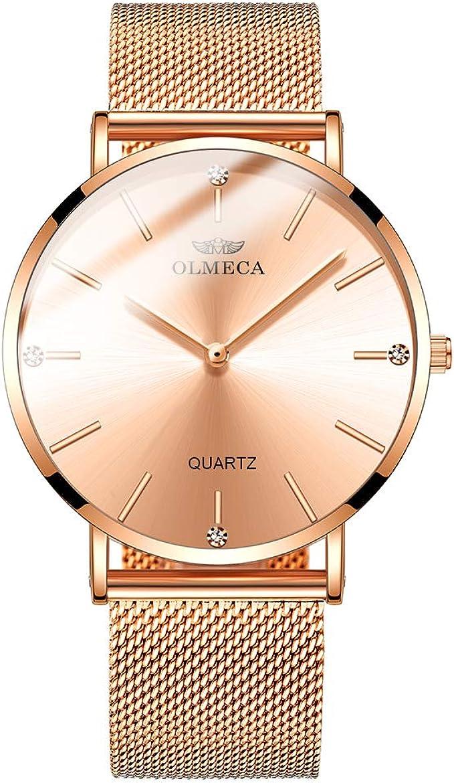 OLMECA Women's Watches Fashion Simple Watches Ultra Thin Wristwatches Waterproof Quartz Women Watches Watch for Women 0872 (Pink)