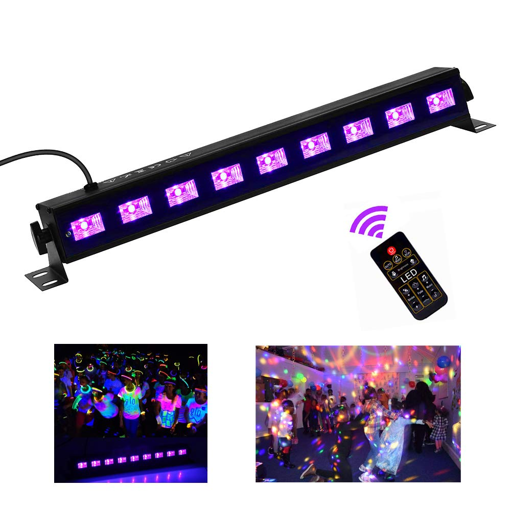 Black Light,HomRealm 9LED UV LED Bar Light,Glow Dark Party Supplies for Blacklight Party Fluorescent Party Light Birthday Wedding Stage Dance Floor Lighting with Remote Control by HomRealm (Image #1)