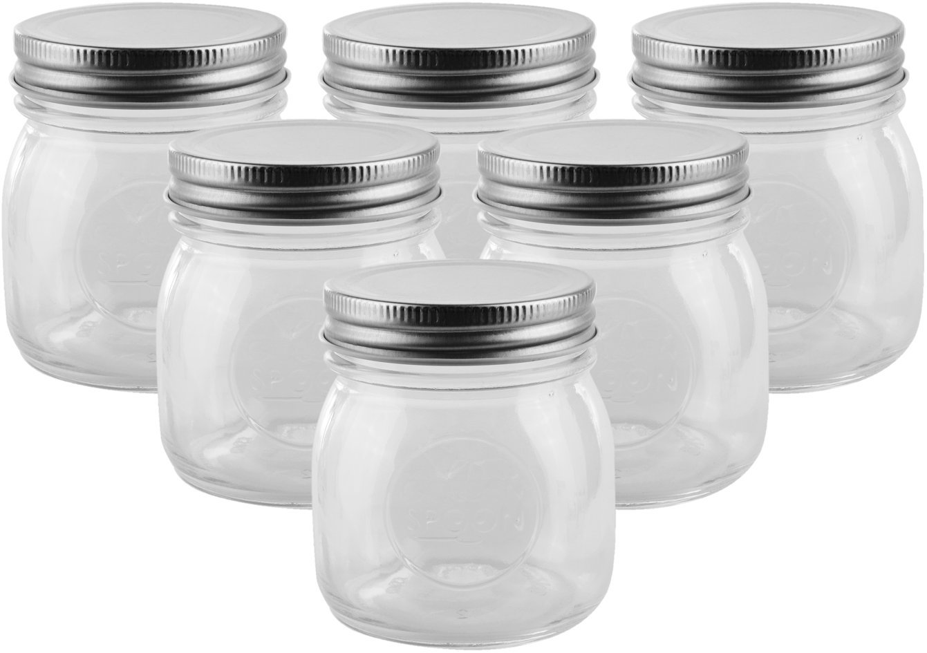 Golden Spoon Mason Jars, With Regular Lids, and Lids for Drinking, Dishwasher Safe, BPA Free, (Set of 6) (10 oz) by Golden Spoon