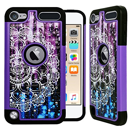 [ZASE] Design Case Compatible for Apple iPod Touch 7th, 6th, 5th Generation Protective Case Studded Diamond Rhinestone Bling Hybrid Shock Absorbing Hard Cover (Purple Mandala Flower)