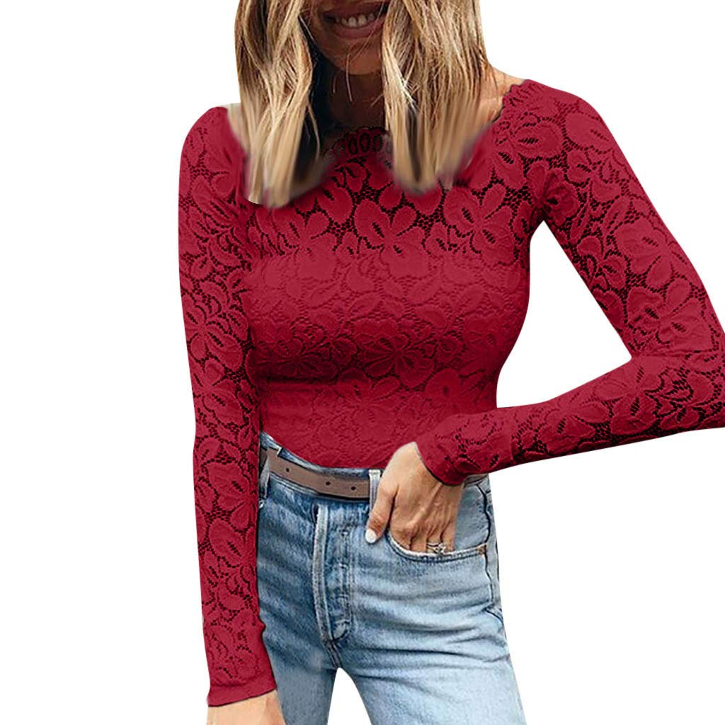 Gocheaper Autumn Women's Wear New one-word Lace Sexy Long-Sleeved T Shirts(Red,XXXXL) by Gocheaper Tops