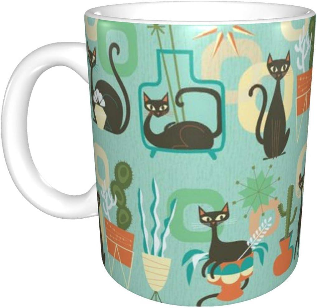 Gatos y plantas modernos en taza de cerámica verde azulado, taza de café taza de té taza de cerveza para oficina y capacidad para el hogar