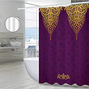 "Purple Decor Funny Shower Curtain 72"" W x 96"" L, Eastern Oriental Royal Palace Patterns with Bohemian Style Art Traditional Wedding Decor Polyester Fabric Adjustable Hook Shower Curtain, Purple Gold"