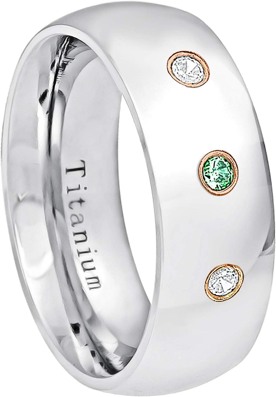 0.21ctw Emerald /& Diamond 3-Stone Titanium Ring 8MM Comfort Fit Polished Dome White Titanium Wedding Band