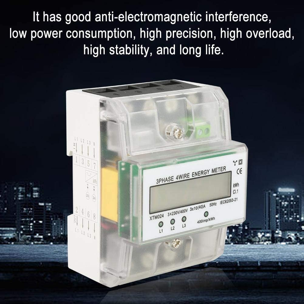 A 10 40 Beennex Digital LCD 3-Phase 4 Wire DIN-Rail Electric Meter Electronic KWh Meter