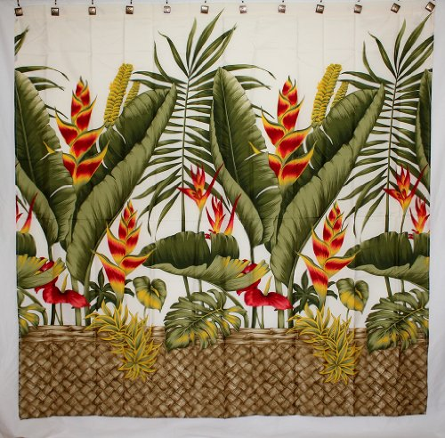 - Hawaii Theme 100% Polyester Fabric Shower Curtain Yellow Heliconia Flower