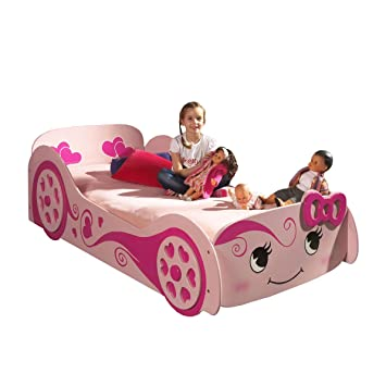 Girl S Pink Princess Racing Car Bed Frame Amazon Co Uk