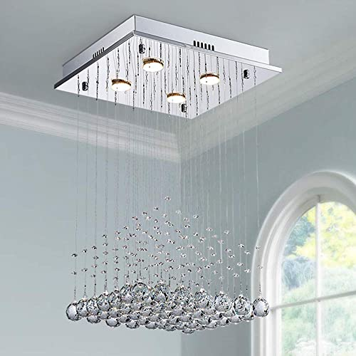Saint Mossi K9 Crystal Rain Drop Chandelier Modern Contemporary Ceiling Pendant Light H22 X W16 X L16