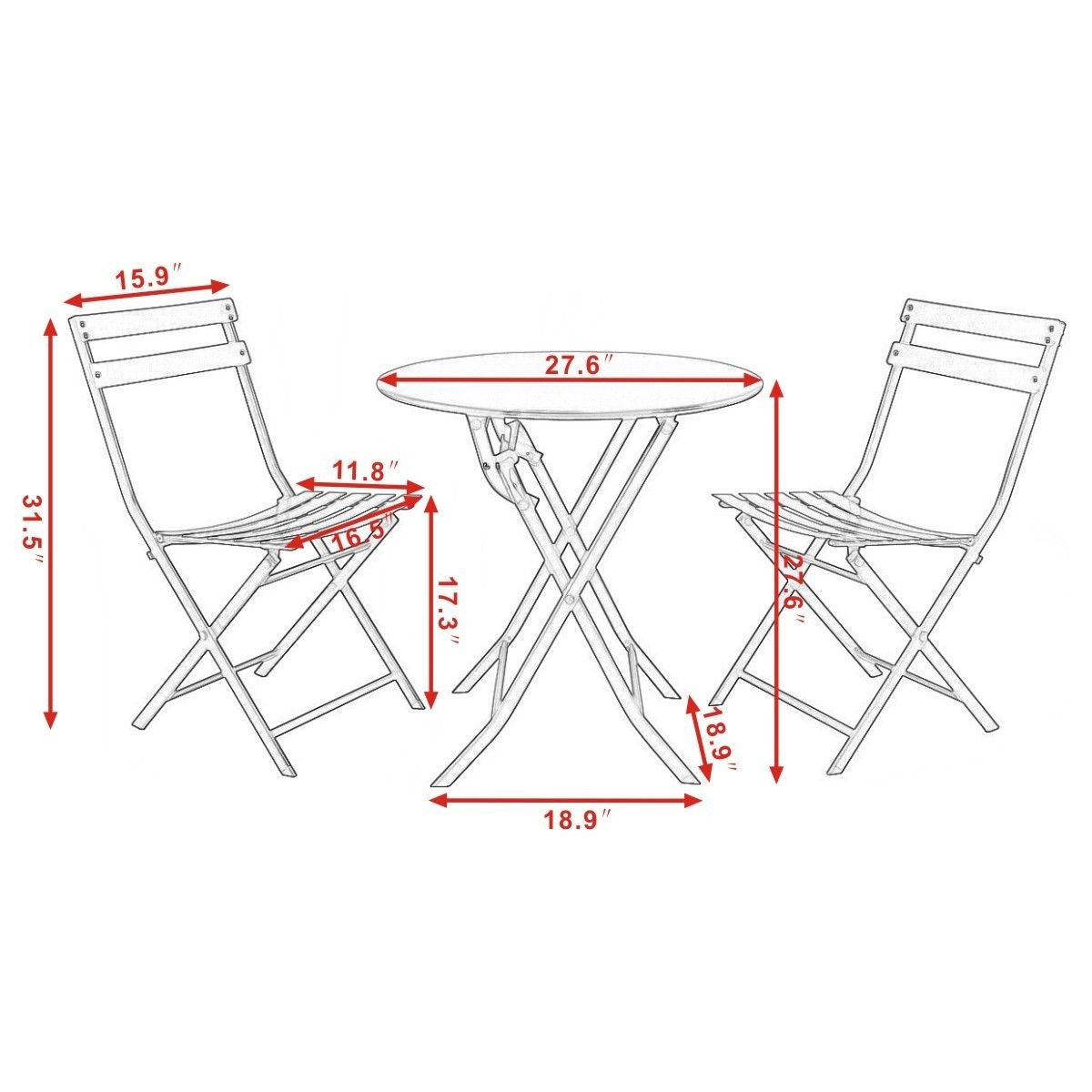 3 Pcs. Blue Table Chair Set Foldable Outdoor Patio Garden Pool Metal Furniture by Allblessings (Image #3)