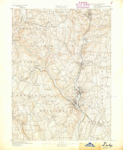 Derby CT topo map, 1:62500 scale, 15 X 15 Minute, Historical, 1889, 19.9 x 16.4 IN - - Ct Farms West