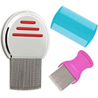 Terminator Lice Comb, Professional Stainless Steel Louse and Nit Comb for Head Lice Treatment, Removes Nits,flea (3Pcs)