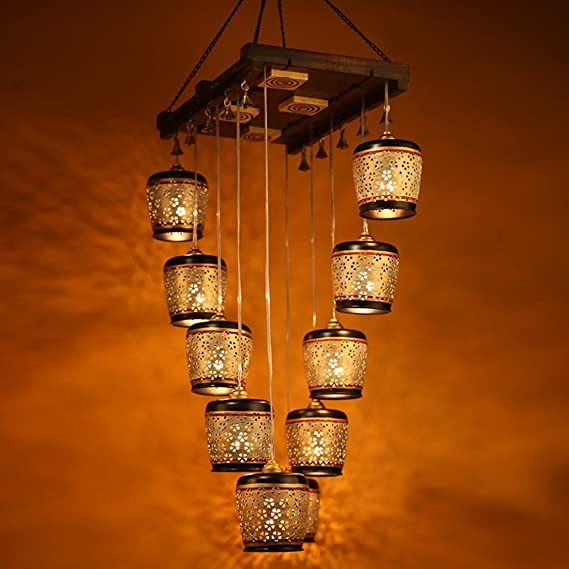 ExclusiveLane Barrel Shaped Home Decorative Chandelier Light Cum Hanging Ceiling Lamp with 10 Shades (Brown and Golden) Chandeliers at amazon