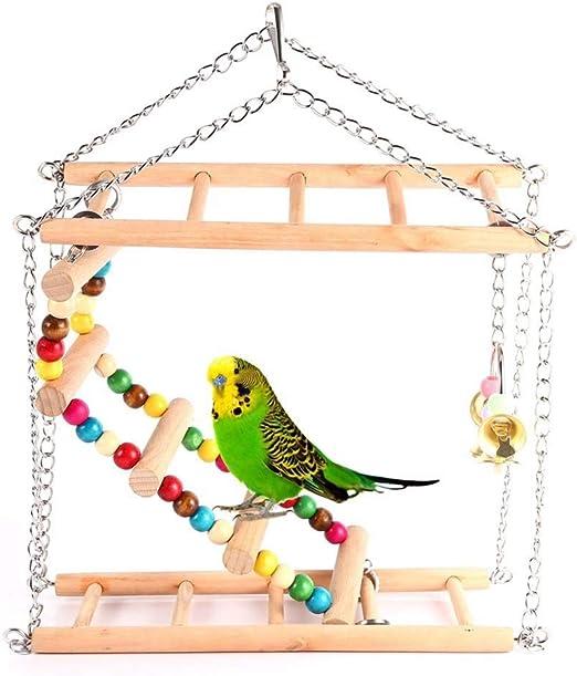 FXQIN Escalera de pájaro de Madera de Doble Capa, Juguetes de Periquito para Jaula Escalera Colgante de Madera, Columpio de Loro Juguete Colgante de Hamaca,L: Amazon.es: Productos para mascotas