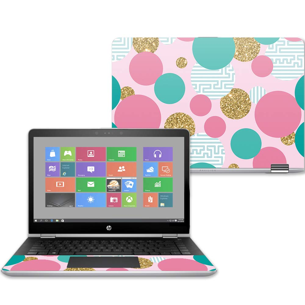 Mightyskins Skin Compatible with Hp Pavilion X360 14'' (2017) - Golden Bubbles | Protective, Durable, and Unique Vinyl Decal Wrap Cover | Easy to Apply, Remove, and Change Styles | Made in The USA