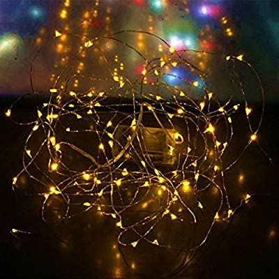 HYTED Starry String Lights 33 Ft with 100 LED Flexible Copper Wire Battery Powered Fairy String Lights for Party Wedding Christmas Table/Bottle Decorations Centerpiece - Orange