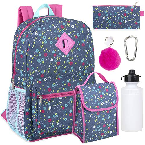 Girl's 6 in 1 Backpack Set With Lunch Bag, Pencil Case, Bottle, Keychain, Clip (Flowers) ()