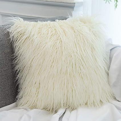 Amazon Dikoaina Mongolian Faux Fur Pillow Cover Cushion Case Impressive Faux Sheepskin Pillow Cover