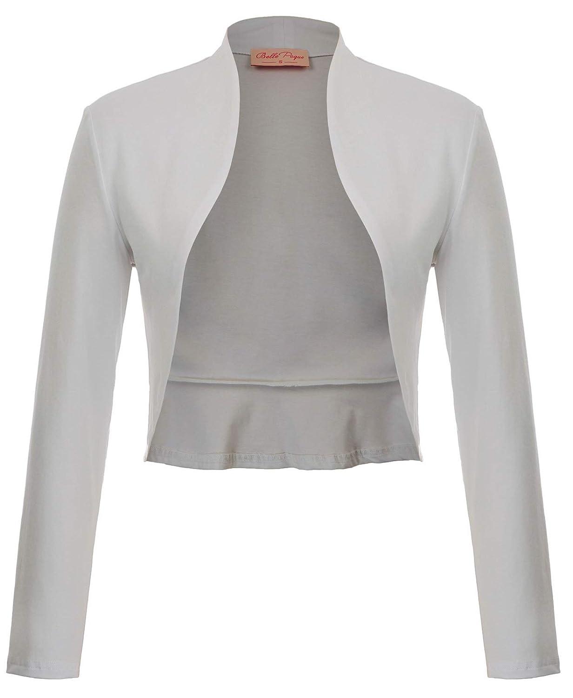 bbab10c0b Belle Poque Women s Vintage Cropped Shrug Open Front Long Sleeve Ruffled  Bolero Cardigan at Amazon Women s Clothing store