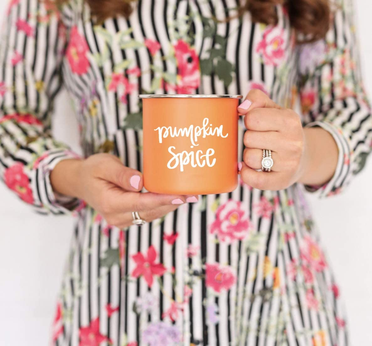 Sweet Water Decor Pumpkin Spice Campfire Coffee Mug Pumpkin Mug Fall Mug Fall Coffee Mug Autumn Decor Coffee Mugs PSL Pumpkin Spice Latte Gift for Her Autumn Campfire Mug Fall Decor Metal Coffee Cup