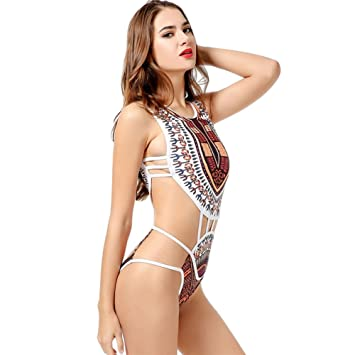 4c5324e5004b0 Amazon.com  MileMelo Boho Indian Swimming Suit One Piece Hollow-Out Swimwear  for Women  Sports   Outdoors