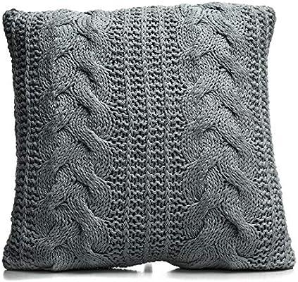 TU TENDENCIA UNICA Cojín de Lana 100% con Relleno de algodón y poliéster (45x45x17cm, Gris): Amazon.es: Hogar