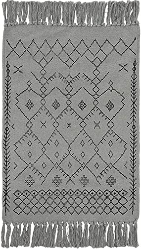 Wolala Home Geometric Printed Cotton Area Rug Hand Woven Tassels with Non-Slip Mat Throw Rugs for Bathroom Bedroom Living Room Laundry Room 23 x51 , Gray