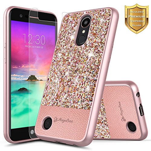 LG K20 Plus Case, LG K20 V Case, LG K20V Case (Verizon) w/ [Tempered Glass Screen Protector], NageBee Shiny Diamond Glitter Bling Crystal Super Slim Soft TPU Protective Leather Hybrid Case (Rose Gold)