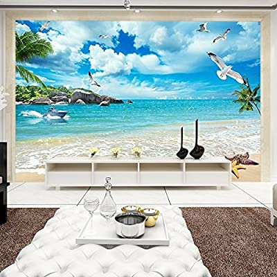 XLi-You 3D Landscape Wallpaper Beach Ocean View Large Mural Painting Living Room Bedroom Tv Background Wall Paper Walls Video Wall