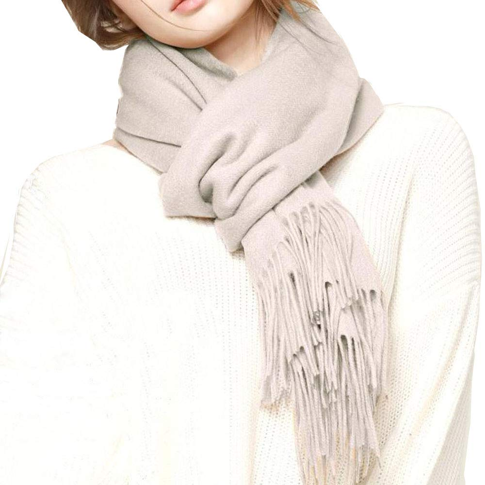 Beige Pure 100% Cashmere Scarf Muffler, Made of Inner Mongolia Goat, Unisex, Gift Boxed, Black Beige Camel