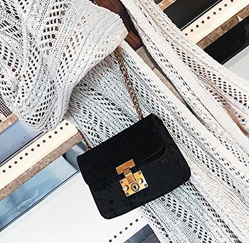 Bolsos Bandolera de Mujer, Holacha Crossbody Bolsas de Hombro de Terciopelo Estilo Moda Elegante negro