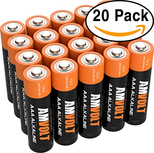 AmVolt AAA Batteries [10 YEAR LIFE] Premium LR3 Alkaline Battery 1.5 Volt Non Rechargeable Batteries for Watches Clocks Remotes Games Controllers Toys & Electronic Devices – 2027 Expiry Date (20 Pack)