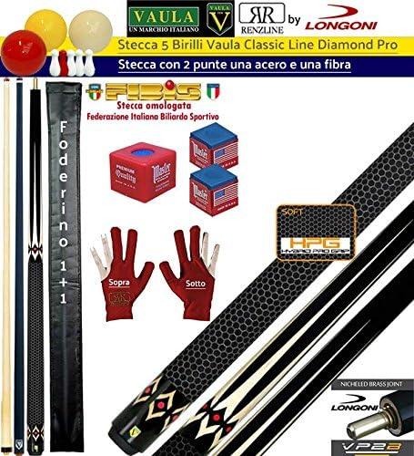 Taco 5 Birilli y 9 birilli-goriziana Billar Internacional Longoni Vaula diamond Pro, 2 puntas, acero y fibra de carbono. Homologado conos fibis, con accesorio y): Amazon.es: Deportes y aire libre