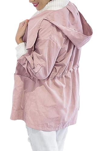 Monocolor Sudadera Con Capucha Mujer Delgada Chaqueta Abrigo Oversize Belted