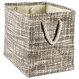 "DII Woven Paper Storage Basket or Bin, Collapsible & Convenient Home Organization Solution for Office, Bedroom, Closet, Toys, Laundry (Large - 17x12x12""), Gray Tweed"