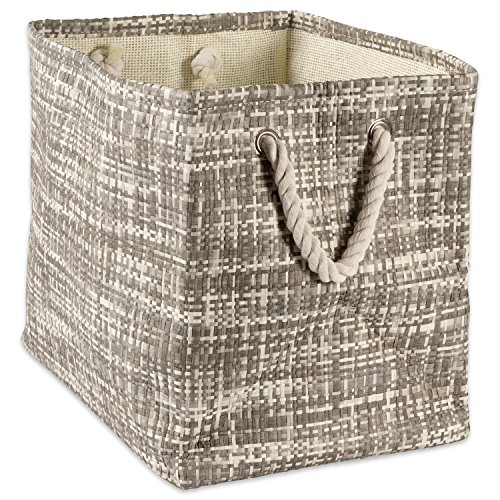 """DII Woven Paper Storage Basket or Bin, Collapsible & Convenient Home Organization Solution for Office, Bedroom, Closet, Toys, & Laundry (Medium - 15x10x12""""), Gray Tweed (Laundry Holder Hide)"""