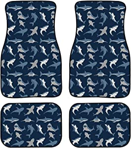 Showudesigns Shark Print 4pc Full Set Heavy Duty Carpet Floor Mats, Universal Fit Mat for Car, SUV, Van & Trucks - Front & Rear, Driver & Passenger Seat