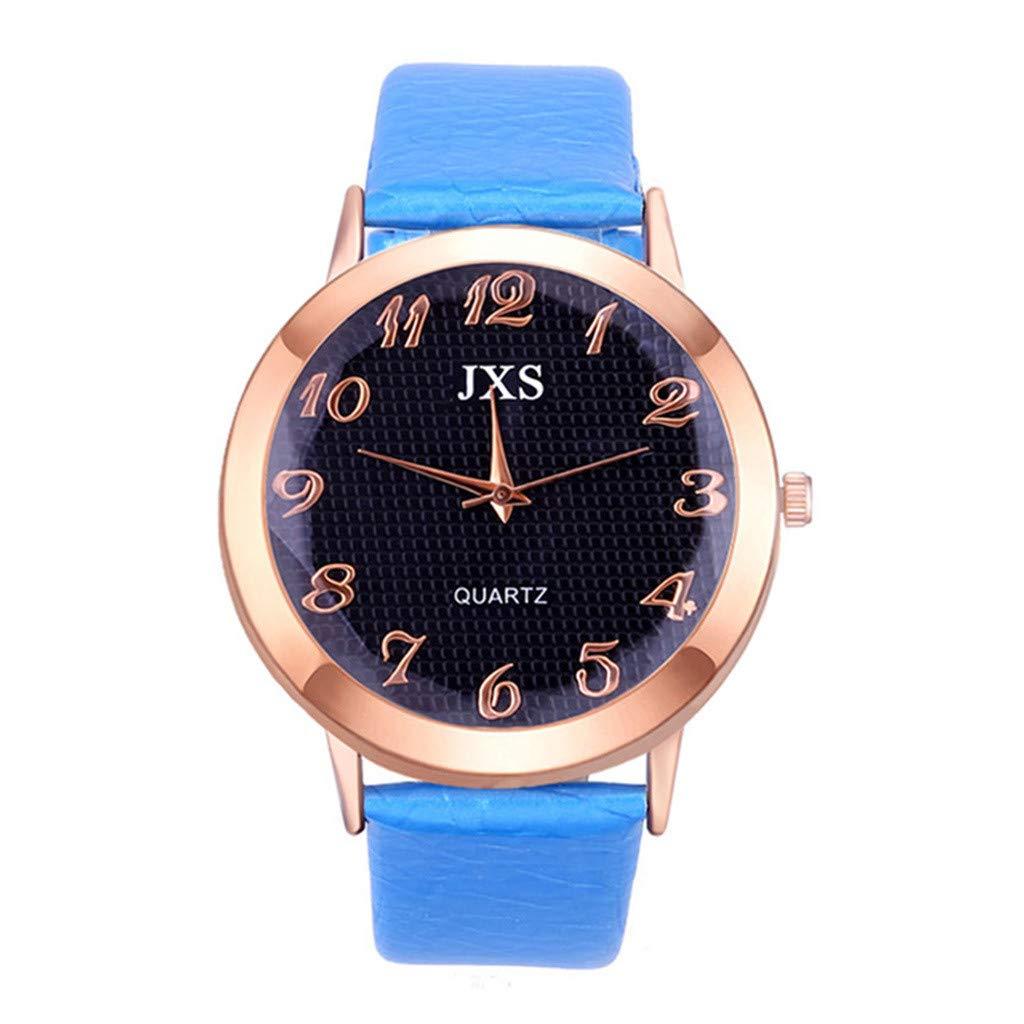 Amaping レディースファッションラグジュアリーレジャーレザーストラップ腕時計 繊細でシンプルかつエレガントなデザイン width: 14mm ブルー  ライトブルー B07L9Z55Y9