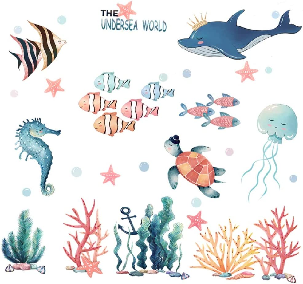 Amaonm Giant Removable 3D DIY Under The Sea World Wall Decals Ocean Animals Wall Stickers Ocean Fish Seahorse Coral Turtle Wall Decor for Girls Bedroom Kids Bathroom Home Walls Living Room Decoration