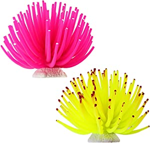 Amersumer 2 Pcs Artificial Sea Anemone, Aquarium Decorations Decorations Coral Ornament Accessories, Fish Tank Decor Anemone (Pink + Yellow)