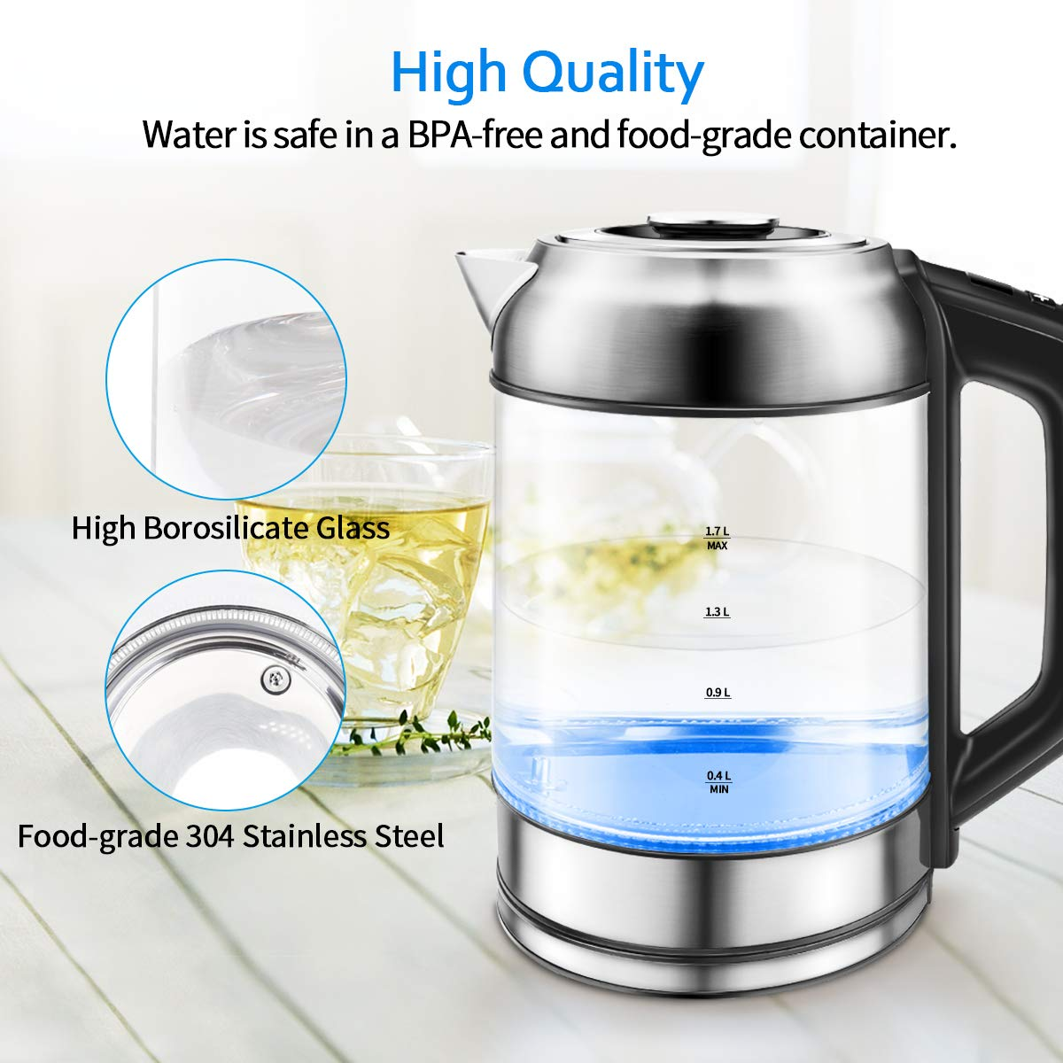 Glass Kettle Morpilot Electric Kettle with Stainless Steel Lid, 2200 W Fast Kettle for Tea Coffee, 1.7 L Electric Jug, LED Lighting, Automatic Shut-off