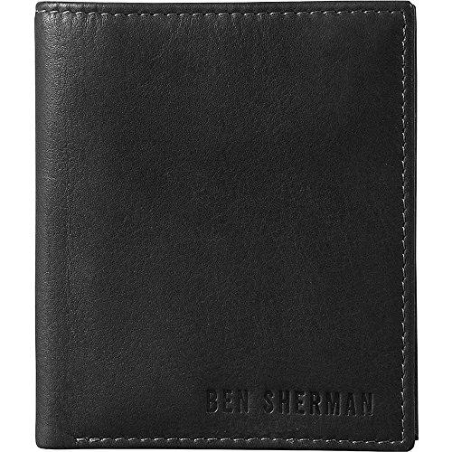 - Ben Sherman Hendon Leather Slim Bifold Five Pocket Wallet (RFID) in Black