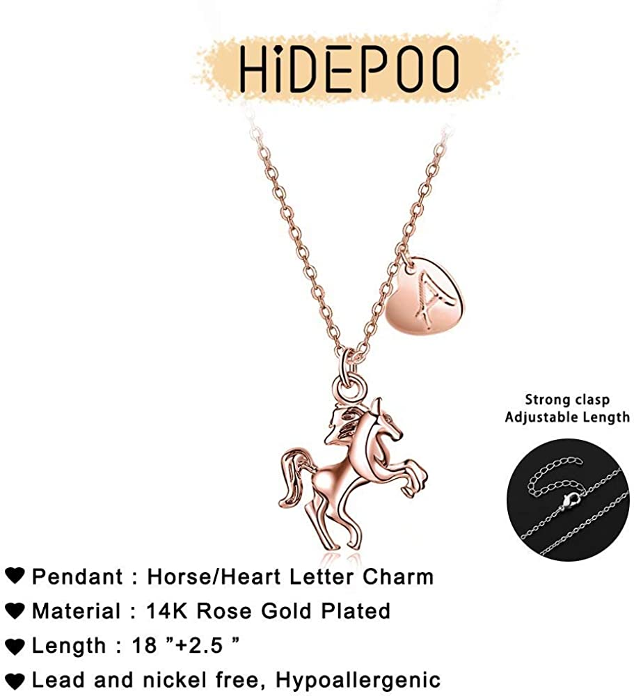 Hidepoo Horse Gifts for Girls 14k Gold Silver Plated Heart Initial Pendant Horse Necklace for Girls Personalized Dainty Horse Jewelry Horse Necklace Horse Gifts for Girls