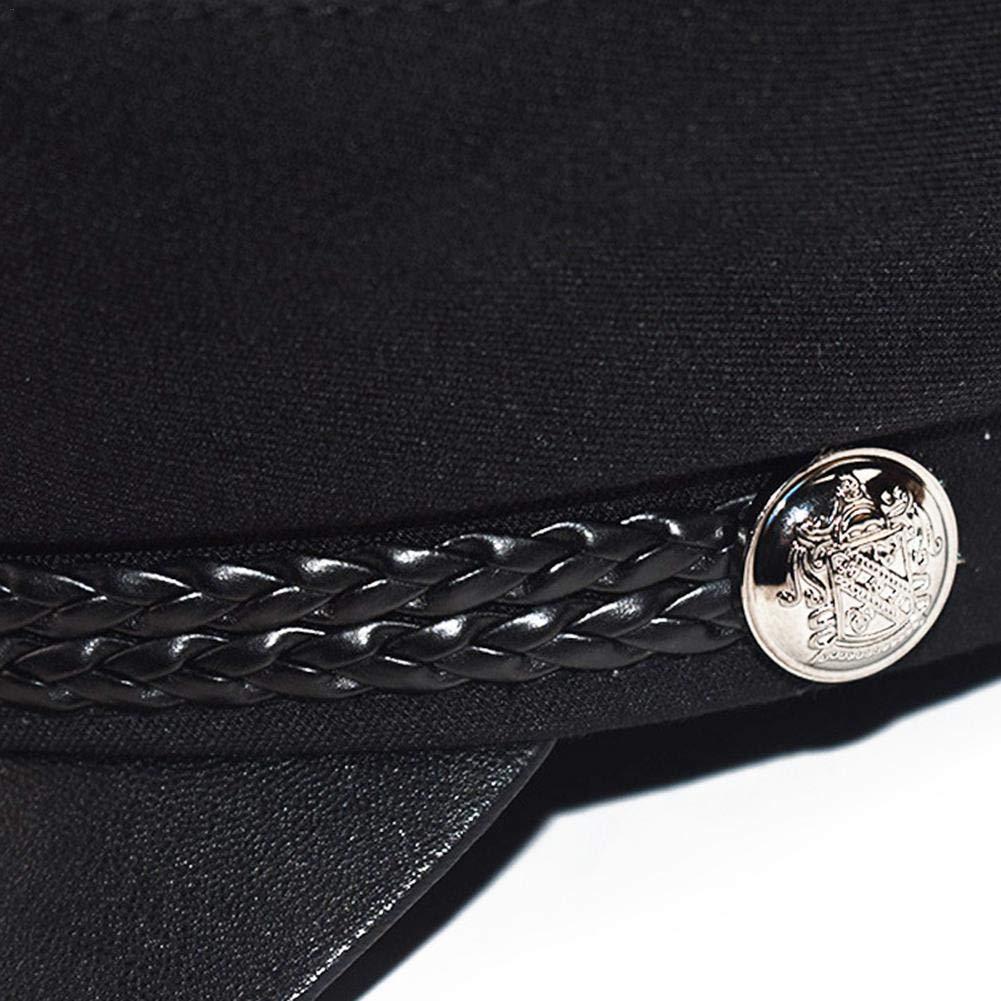 Cappello da marinaio classico vintage in tinta unita con cappuccio piatto regolabile per autista donna stile britannico