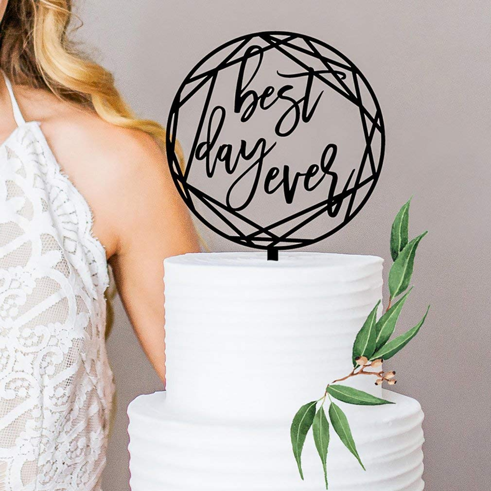 Yogasada Acrylic Black Best Day Ever Cake Plaque Decoration Wedding Cake Topper Black
