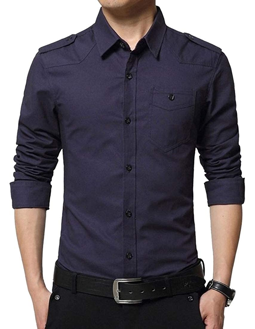 M/&S/&W Mens Military Slim Dress Shirt Long Sleeve Button Down Dress Shirts