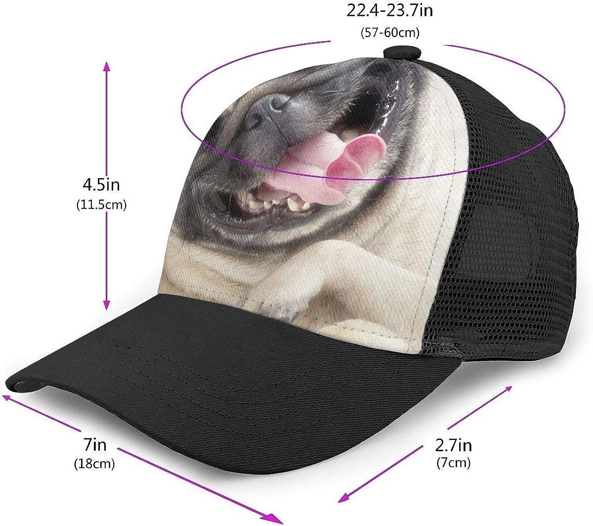 Plain Hip Hop Cap for Unisex Mens and Womens Happy Pug Flat Baseball Hat