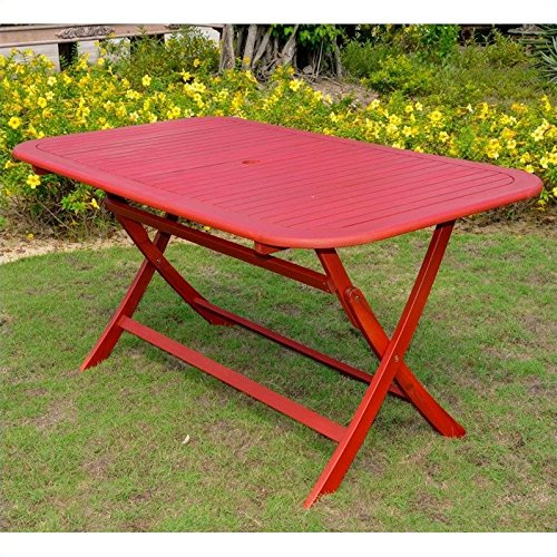 International Caravan TT-RE-054-BRD-IC Furniture Piece Acacia Rectangular Folding Table For Sale