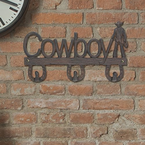 Stonebriar Western Cowboy and Horseshoe Cast Iron Row Wall Hook, Unique Country Home Decor, For Indoor or Outdoor