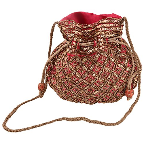 Craft Trade Silk Beaded Potli Bag Drawstring Embroidered Ethnic Designer Pouch/Coin/Jewellery Purse for Women & Girls