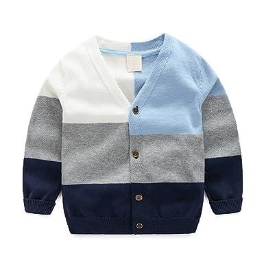 40ceadcbd32c Amazon.com  Winyersnow Autumn Boys Cardigan Casual Children Sweater ...